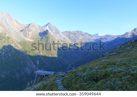 Panorama with weather station and mountain Grossvenediger in Hohe Tauern Alps, Austria - stock photo