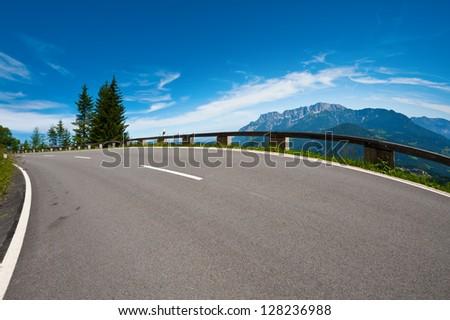 Panoramastrasse- Asphalt Road in the Bavarian Alps - stock photo