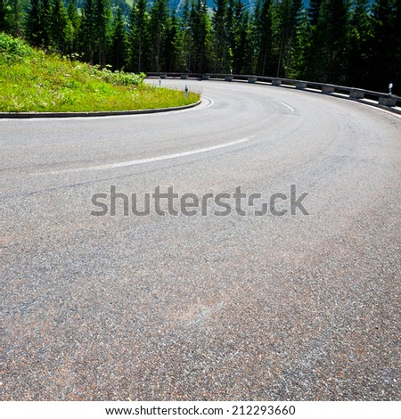 Panoramastrasse- Asphalt Road in the Bavarian Alps, Instagram Effect - stock photo
