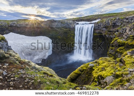 Panoramatic view of breathtaking waterfall at Skoga river during the sunset, Iceland