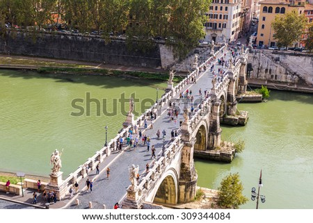 Panoramic above view of Sant Angelo's bridge in Rome, Italy - stock photo