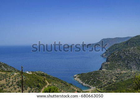 Panoramic aerial view from Skopelos island towards the aegean sea. Sporades, Greece