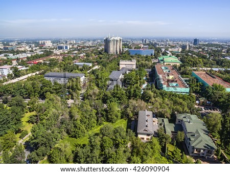 Panoramic aerial view of Almaty city, Kazakhstan.