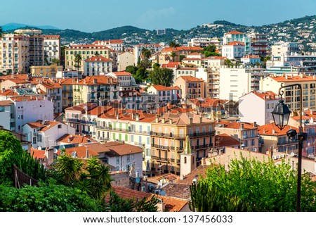 Panoramic aerial view of Cannes city, France