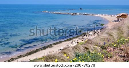 Panoramic aerial view of empty Mediterranean Sea beach in Bat Yam, Israel. - stock photo