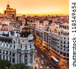 Panoramic aerial view of Gran Via, main shopping street in Madrid, capital of Spain, Europe. - stock photo