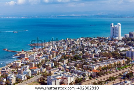 Panoramic Aerial View of Haifa, Israel