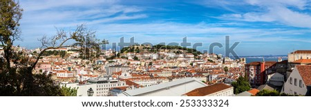 Panoramic aerial view of Lisbon, Portugal. Sao Jorge Castle