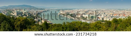 Panoramic aerial view of Pest and Erzsebet bridge from Gellert hill, Budapest, Hungary - stock photo