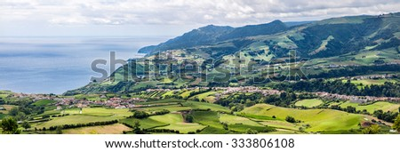 Panoramic Aerial View of Povoacao in Sao Miguel, Azores Islands - stock photo