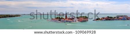 Panoramic aerial view of San Giorgio island. Venice. Italy. - stock photo