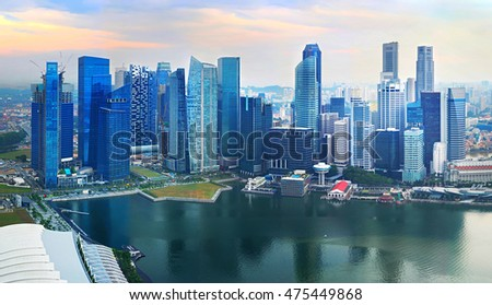 Panoramic aerial view of Singapore Dontown Core