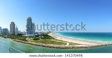 Panoramic aerial view of South Miami Beach during sunny day - stock photo