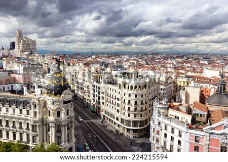 Panoramic aerial view of the main shopping street in Madrid, Spain. - stock photo