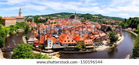 Panoramic aerial view over the old Town of Cesky Krumlov, Czech Republic - stock photo