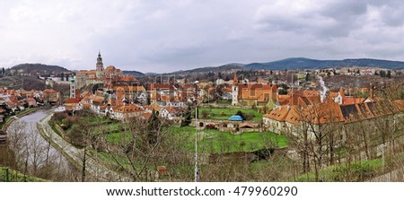 Panoramic aerial view over the old Town of Cesky Krumlov, Czech Republic