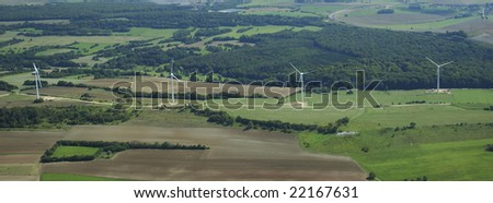 Panoramic and aerial view of a wind farm in France Europe - stock photo