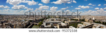 Panoramic and detailed view of Paris from Notre Dame - stock photo