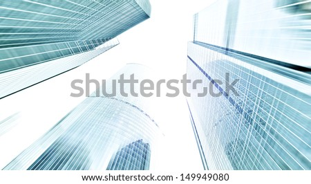Panoramic and perspective wide angle view to steel blue background of glass high rise building skyscrapers in modern futuristic downtown over sky Business concept of successful industrial architecture - stock photo