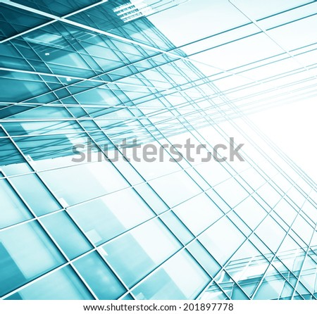 Panoramic and perspective wide angle view to steel light blue background of glass high rise building skyscraper commercial modern city of future. Business concept of successful industrial architecture