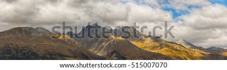 Panoramic at Mount Larkins mountain peaks in Lord of the Rings film location, Glenorchy, New Zealand