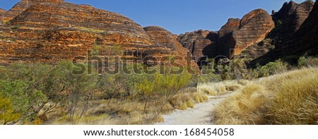 Panoramic Australian landscape with geological feature of rolling hills. The Dragon hill. Bungle Bungle national park, Western Australia. - stock photo