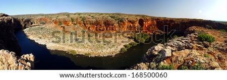Panoramic Australian landscape- Yardie Creek Gorge in the Cape Range National Park, Ningaloo. Reef near Exmouth, Western Australia. - stock photo