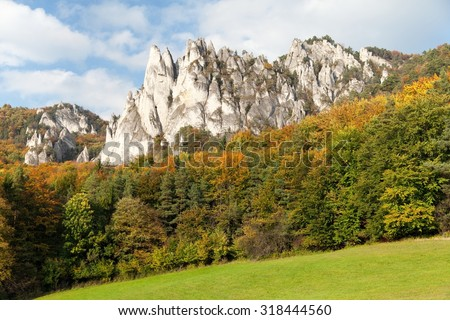 Panoramic autumnal view from Sulov rockies - sulovske skaly - Slovakia