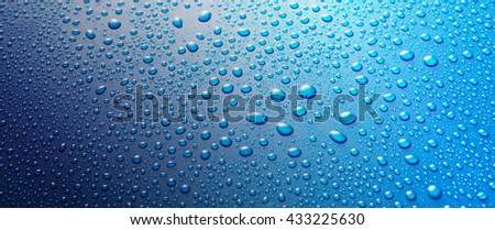 Panoramic banner of water drops from rain, dew or splashing on blue metal surface forming an abstract random background pattern