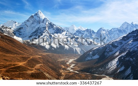 Mountain range stock images royalty free images vectors panoramic beautiful view of mount ama dablam with beautiful sky on the way to everest base sciox Gallery