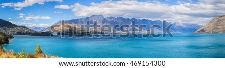 Panoramic Beautiful Wakatipu Lake, New Zealand