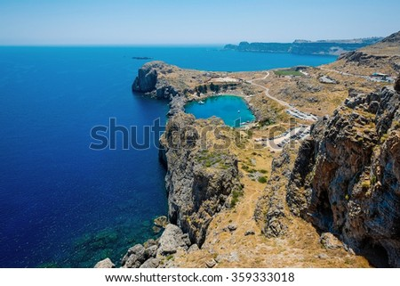 Panoramic bird eye aerial view at Saint Paul Bay at Lindos on the island of Rhodes, Greece