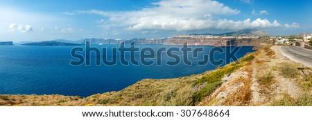 Panoramic caldera view from Akrotiri on Santorini island, Greece - stock photo