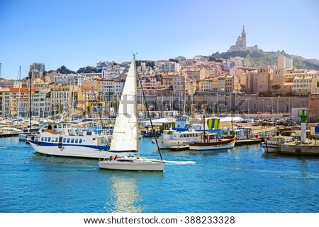 Panoramic cityscape of Marseille, view on the Notre Dame de la Garde, Marseille, Provence, France - stock photo