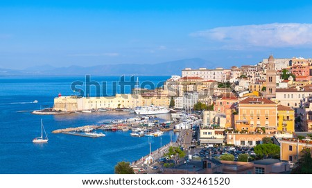 Panoramic cityscape of old coastal town Gaeta, Italy