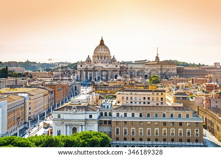 Panoramic cityscape of Rome with Saint Peter`s Basilica in Vatican, Rome, Italy - stock photo