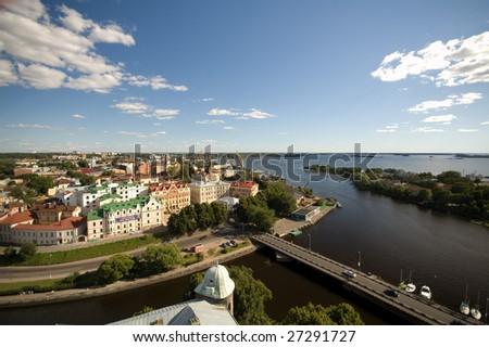 panoramic cityscape of the Vyborg town - stock photo
