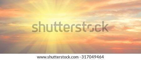 Panoramic cloudscape, idyllic natural background with copy space