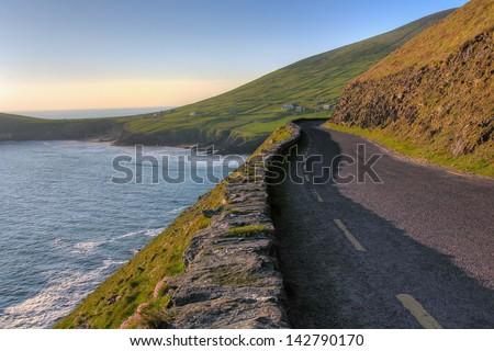 Panoramic coastal road in Dingle Peninsula .Ireland - stock photo