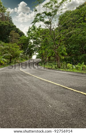 panoramic  color view of nice summer empty road - stock photo