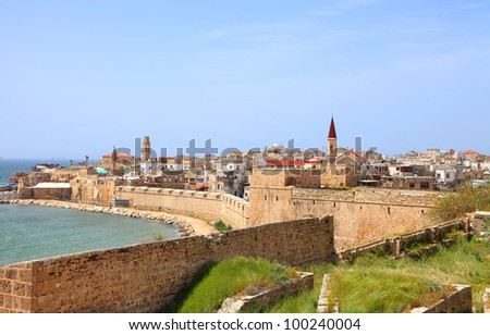 Panoramic colorful view on the old city of Akko (Israel) - stock photo