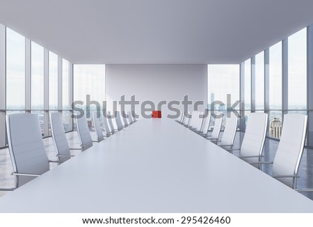 Panoramic conference room in modern office in New York City. White chairs and a white table. A red chair in a head of the table. 3D rendering. - stock photo