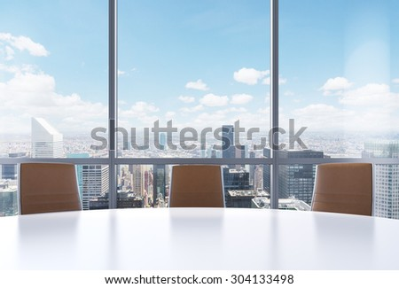 Panoramic conference room in modern office, New York city view from the windows. Close-up of the brown chairs and a white round table. 3D rendering. - stock photo