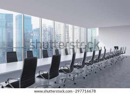 Panoramic conference room in modern office, Singapore view. Black leather chairs and a long white table. 3D rendering. - stock photo