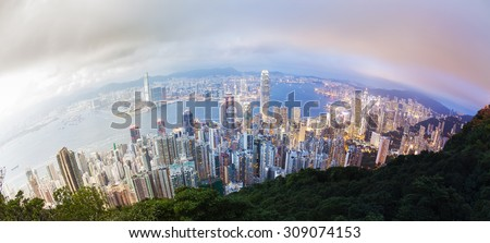 Panoramic day to night transition of Hong Kong, fisheye view