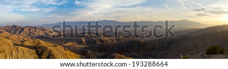 Panoramic desert landscape with San Andreas Fault - from Joshua Tree National Park in California - stock photo