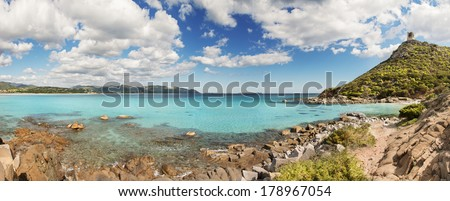 Panoramic desert seascape with crystal clear sea - very high resolution - stock photo