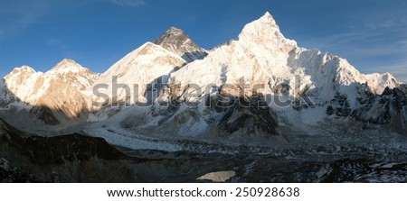 Panoramic evening view of Mount Everest from Kala Patthar - way to Everest base camp - Nepal - stock photo