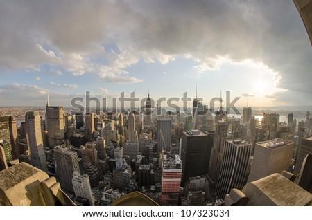 Panoramic fisheye view of Manhattan Skyline, New York City Aerial View - U.S.A. - stock photo