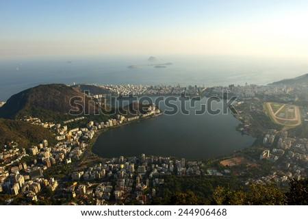 Panoramic from Corcovado moutain, Rio de Janeiro. - stock photo